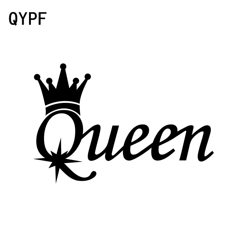 QYPF 15.3CM*10CM Fashion QUEEN Vinyl Car Motorcycle Sticker Decal Black Silver Decoration C15-2729