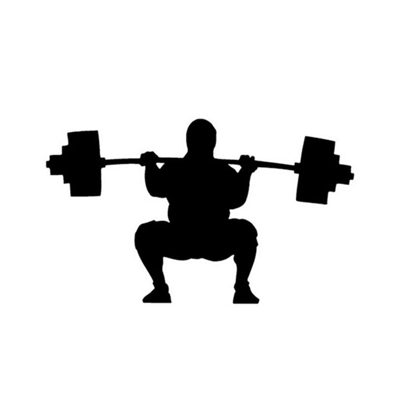 16*9.5CM Weightlifter Car Sticker Decal Cartoon Sports