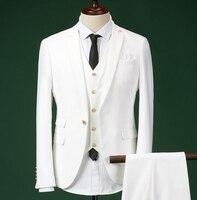 Лучшие Для мужчин костюмы one button Черный, белый костюм цвет шерсти 3 предмета в комплекте деловые Для мужчин's Костюм для свадьбы RZFS06