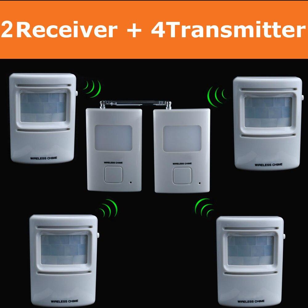 bilder für Drahtlose einfahrt patrol alarm garage infrarot alarm sicheres system pir motion sensor detector 2 empfänger + 4 sender