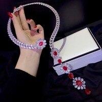 Серебро 925 пробы с фианитом красный и белый смешанные цвета крутявечерние щие моменты партия цепочки ожерелья модные женские туфли ювелирн