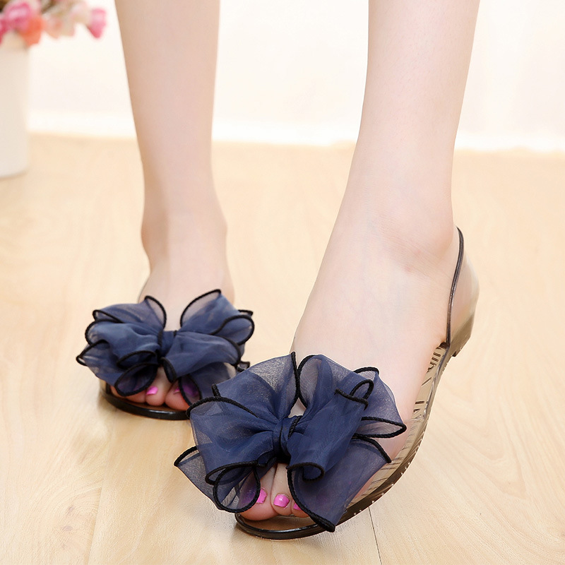 Discount Summer 2019 Women Sandals Pvc Flats Fashion Sweet Casual Flower Bow Crystal Shoes Fish Mouth Jelly Shoes Beach Shoes