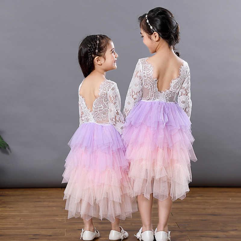 Кружевное платье-пачка с открытой спиной для девочек; многослойный нарядный костюм с длинными рукавами для девочек; Пышное Платье для танцев; платье для свадебной вечеринки; Vestidos