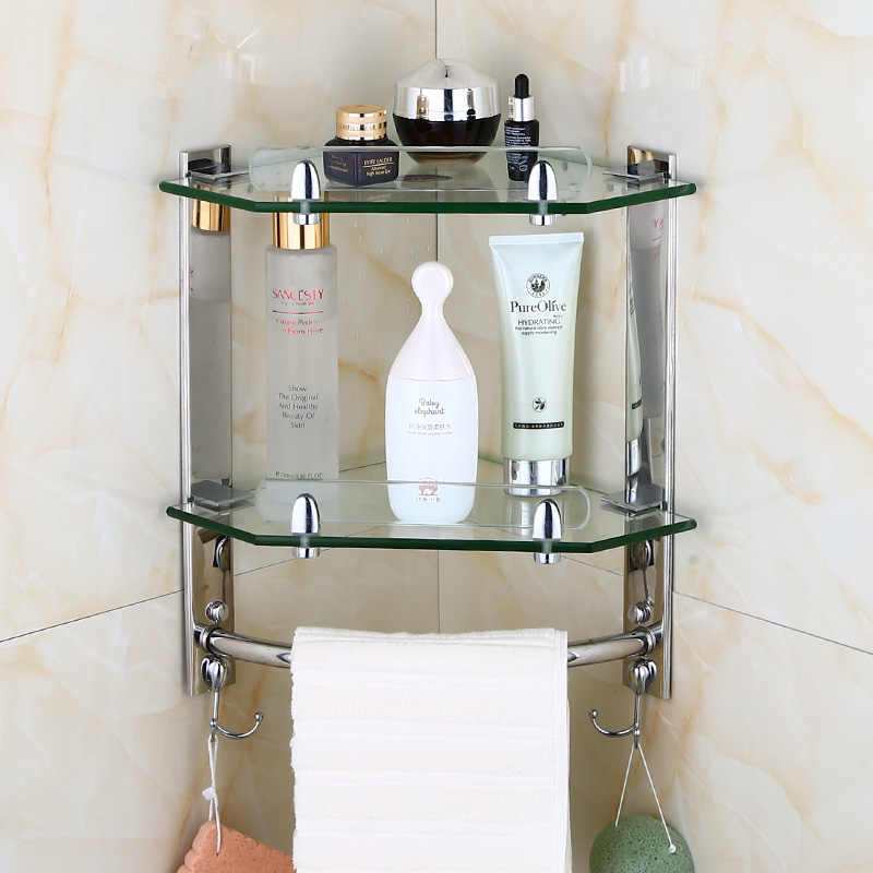 European Toilet Shelf Glass Wall Shelf Stainless Steel Wall