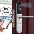 Cerradura de puerta electrónica RAYKUBE con huella digital/tarjeta inteligente/desbloqueo Bluetooth Wifi TT bloqueo de la aplicación de teléfono sin llave cerradura r-F918