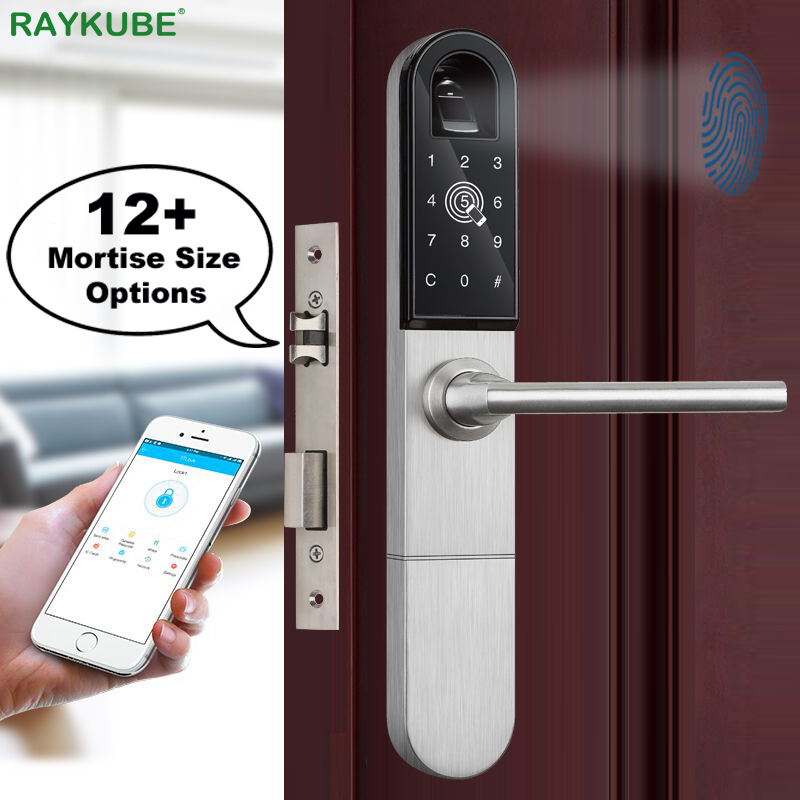 RAYKUBE Electronic Door Lock With Fingerprint / Smart Card / Bluetooth Unlock Wifi TT Lock Phone APP Keyless Mortise Lock R-F918