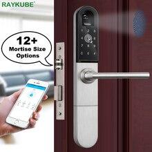 RAYKUBE Electronic Door Lock With Fingerprint / Smart Card / Bluetooth Unlock Wifi TT lock Phone APP Keyless Mortise Lock R-F918