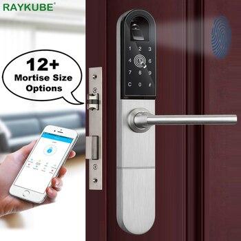 RAYKUBE Elettronico Serratura Della Porta Con Le Impronte Digitali/Smart Card/Bluetooth Unlock Wifi TT di blocco Del Telefono APP Keyless Serratura Da Infilare r-F918