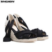 TINGHON Summer Women wedge sandals 9CM and 6.5CM heel height Wedges shoe women lace up Shoes