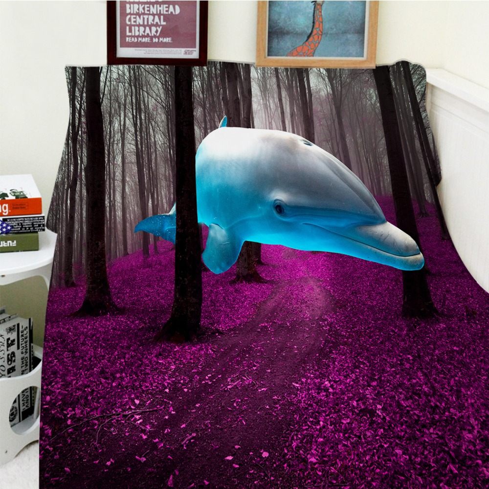 Blankets Comfort Soft Plush Easy Care Funny Dolphin In The In The Forest Purple Ground Warm Throw Cobertor For Sofa BedBlankets Comfort Soft Plush Easy Care Funny Dolphin In The In The Forest Purple Ground Warm Throw Cobertor For Sofa Bed