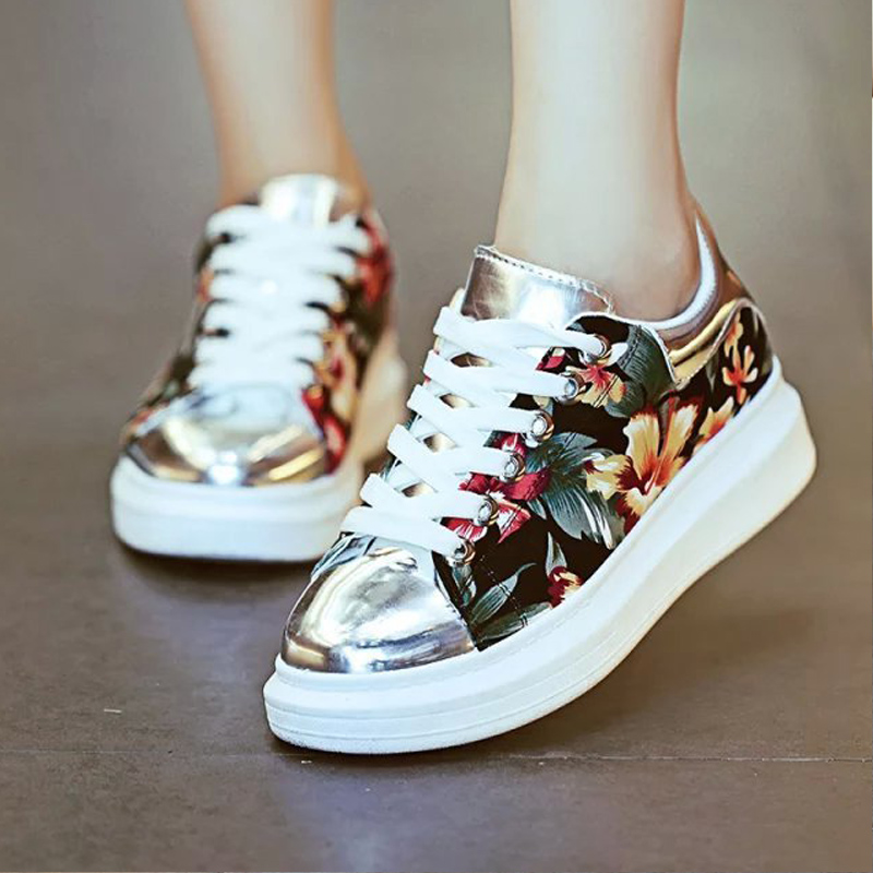 Platform Shoes Women Pu Mirror With Flower Canvas Patchwork Lace Up Causal Floors For Ladies And Students