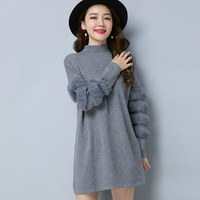 Autumn Knitting Pullover Sweater For Women Long Sleeve With Fur Female Sweaters Knitted Tops Casual Clothes