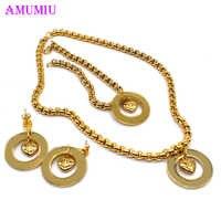AMUMIU Trendy Stil frauen Gold Edelstahl Solide Herz Runde Charme Halskette Armband Schmuck Set Mutter Tag Geschenk JS036