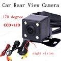 Best selling CCD de visión nocturna de 170 grados ángulo de visión + 4LED Cámara de Visión Trasera cámara de Reserva Impermeable