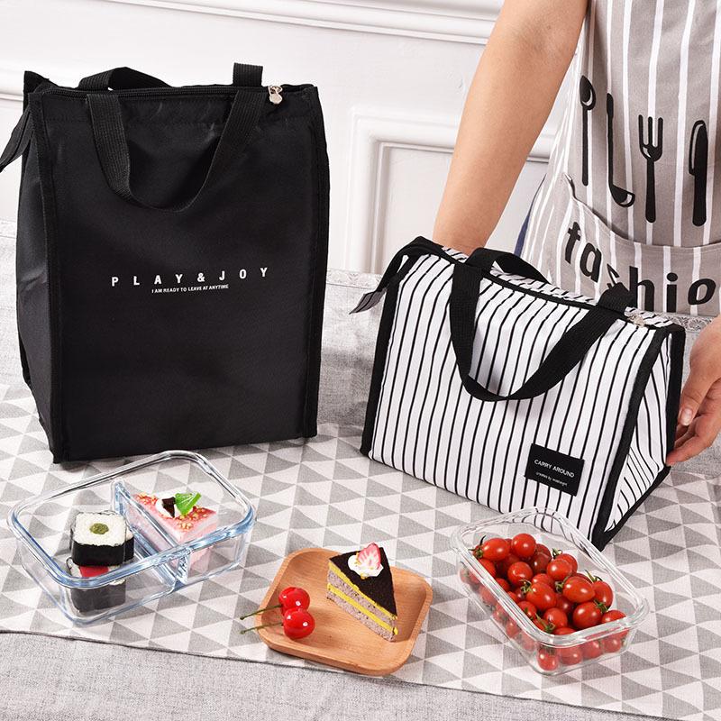 Black Strips Thermal Insulated Lunch Bags For Women White Thermal Lunchbox Food Picnic Bag Cooler Tote Handbags For Men Women