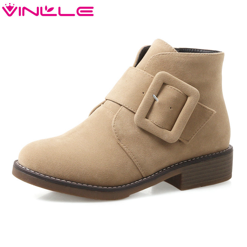 VINLLE 2018 Women Boots Winter Shoes Ankle Boots Concise Buckle Square Low Heel Round Toe Ladies Motorcycle Shoes Size 34-43 vinlle 2018 women boots shoes ankle boots square high heel round toe slip on beige ladies motorcycle shoes size 34 43