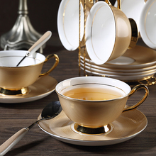 High-quality bone china coffee cup saucer set British retro royal style elegant creative gold pattern teacup gift