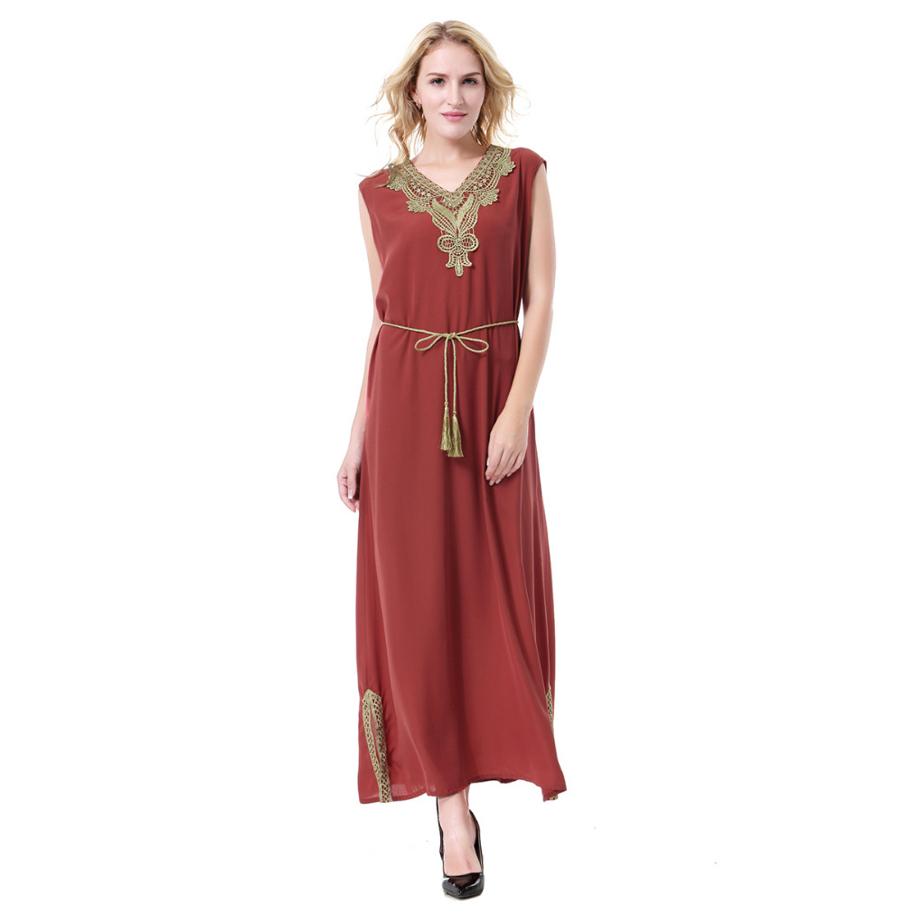 Women Linen Embroidery Hem Split Sleeveless Muslim Abaya Dress Arab Robes  Islamic Clothing Middle East Evening Dresses Malaysia-in Islamic Clothing  from ... 6dba570e663c