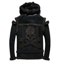 2018 Czarnych Mężczyzn Czaszki Wzór Biker Shearling Płaszcz Plus Rozmiar XXXXL Prawdziwe Grube Zimowe Rosyjski Shearling Jacket DARMOWA WYSYŁKA