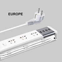 EU network filter Power strip extension 3 plug vertical strip 4 USB electric extension cable tee socket cord adapter plug 2500W