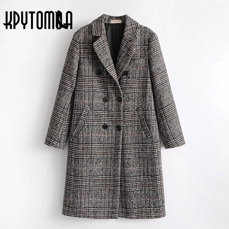 Vintage Checked Plaid Double Breasted Wool Coat Women 2018 New Fashion Autumn Pockets Long Sleeve Overcoat Casual Manteau Femme