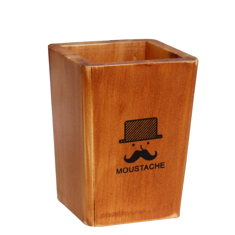 Fashion Tower Beard Desktop Hollow Wooden Pen Holder Office Stationary Supplies Accessories Double Drawer Pencil Holder ...