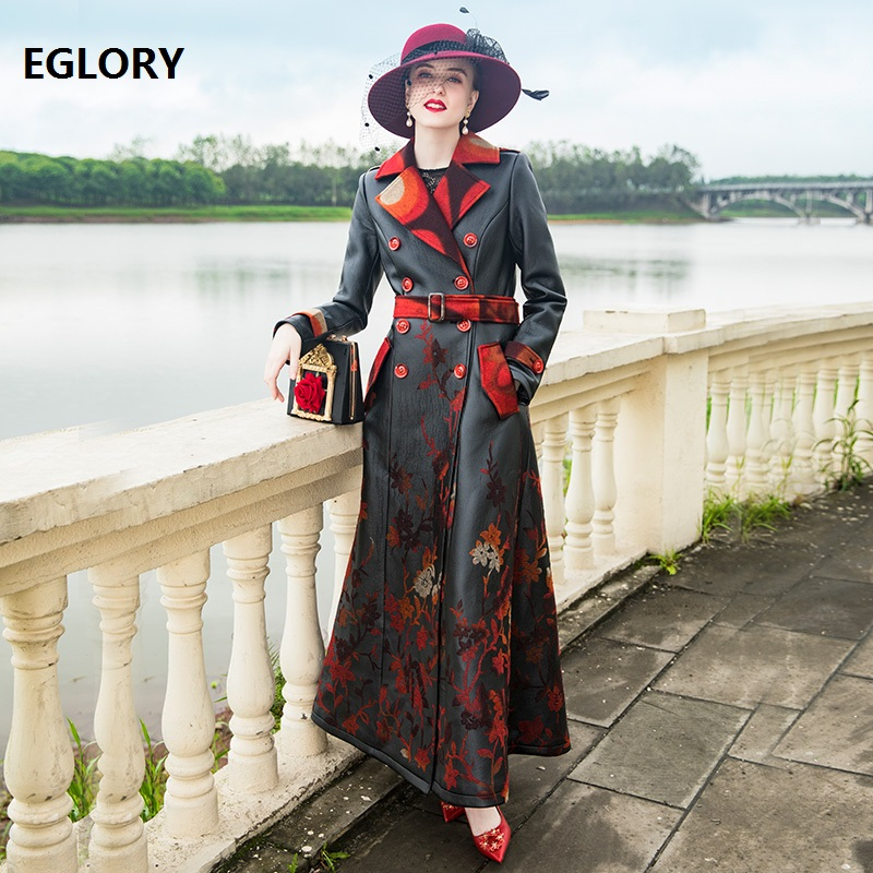 xxxxl Leather & Sude Long Coat 2018 Autumn Winter High Quality Brand Women Elegant Flower Print Double Breasted Leather Coat 4XL