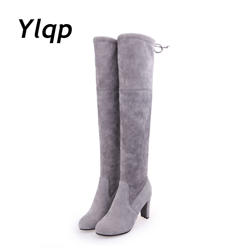 Women Scrub Leather Thigh High Boots Over The Knee Boot Sexy Overknee High Heels Woman Shoes Black Gray botas zapatos mujer 2018 winter thigh high boots women faux suede leather high heels over the knee botas mujer plus size shoes woman 34 43