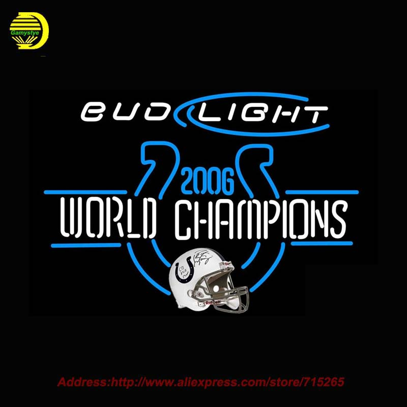 Bud <font><b>Light</b></font> with NFL Neon Sign World Champion Neon Bulb Glass Tube Handcrafted Neon Lamp Eye Catch Glass Neon <font><b>Lights</b></font> Indoor 30x24