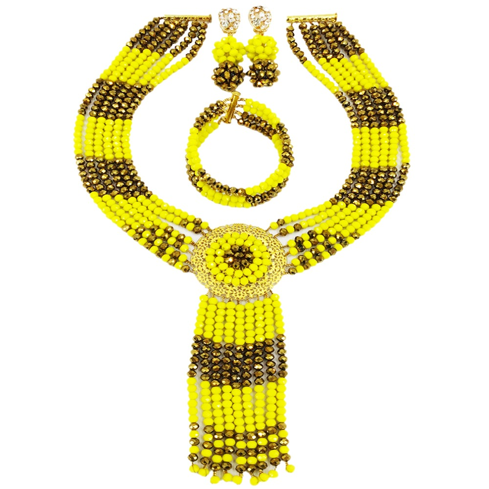 Nigerian Wedding Gifts: Opaque Yellow Golden Brown Crystal African Beads Jewelry