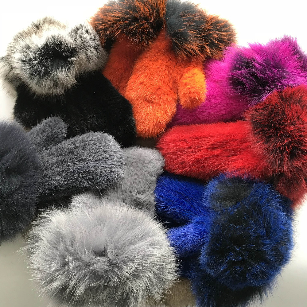 Apparel Accessories 1pcs Real Mink With Fox Fur Mittens Knitted Gloves Winter Warm Gloves Real Fur Womens Glove Chills And Pains Romantic Magicfur