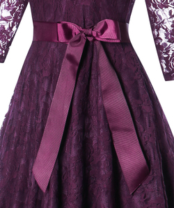Image 5 - OML 516Z#Middle sleeve O Neck short purple lace Bow Bridesmaid Dresses wedding party dress prom gown womens fashion wholesale