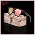 2017 productos de moda de la marca mujeres de los hombres gafas de sol de madera de bambú gafas de sol de la vendimia hd lente polaroid uv400 marco de madera hecho a mano