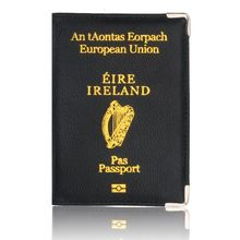 TRASSORY Litchi Pattern European Union Ireland Leather Passport Cover Women Holder with Copper Angle