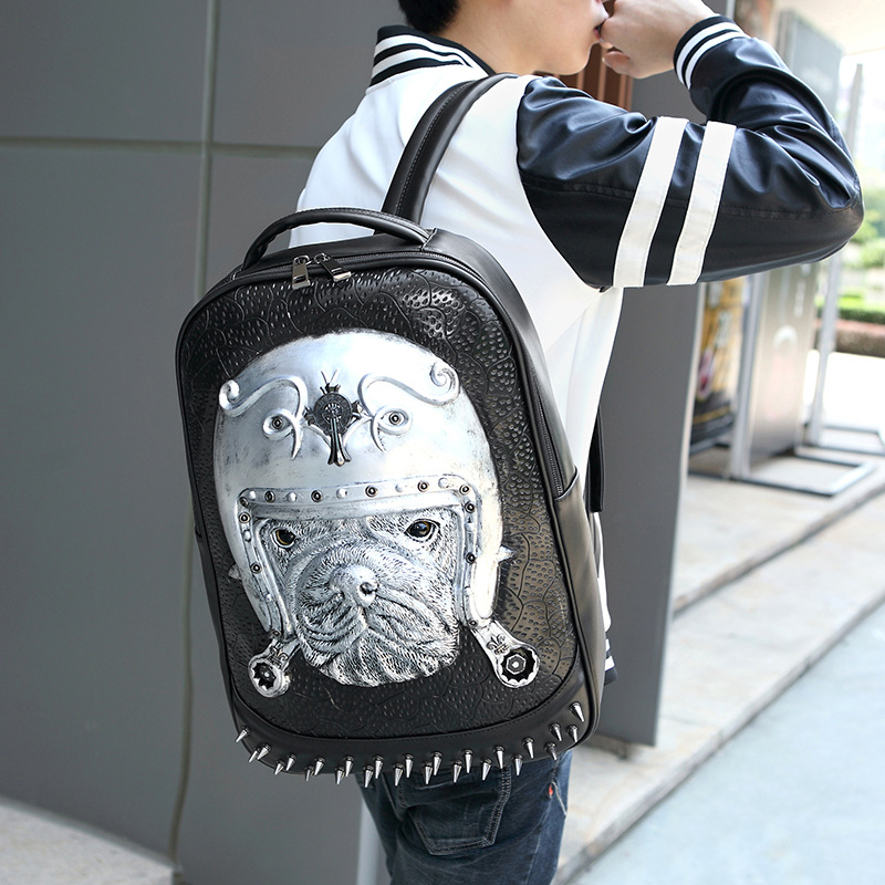 Pu backpack rivet men and women 3d animal pattern computer backpack creative dog shape shoulder bag gold crystal wall mounted toilet paper holders brass wc roll paper tissue basket bathroom accessories