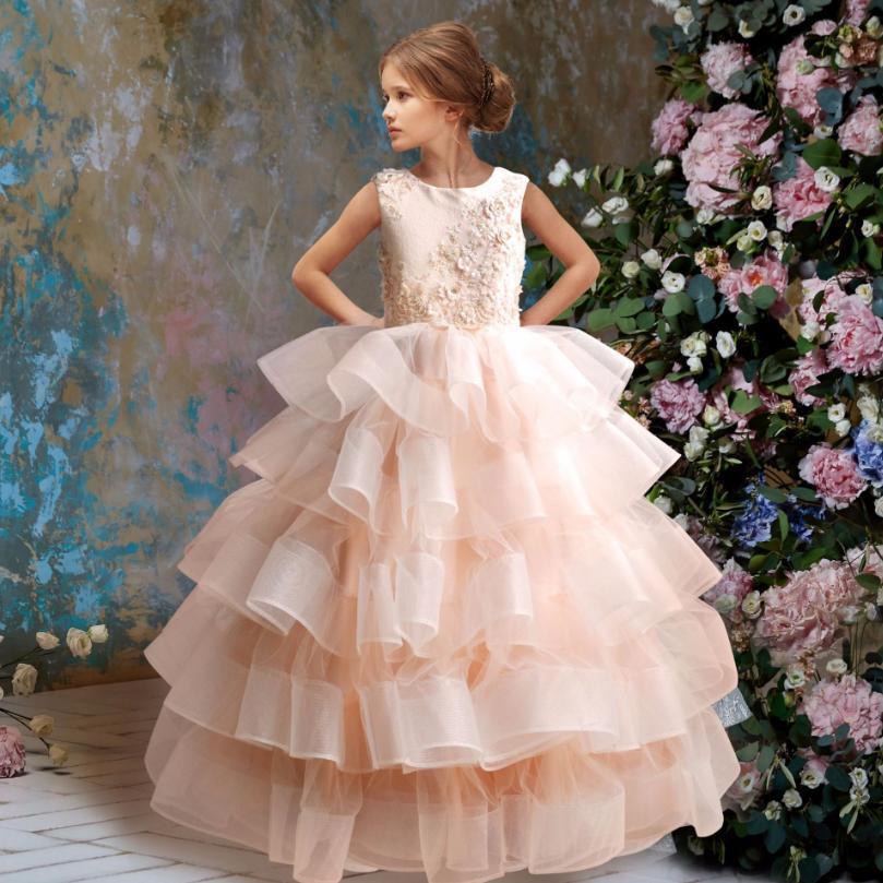Elegant Baby Girls Wedding Dress Pink Lace Patchwork Princess Dress Kids Clothes Children's Stage Performance Tutu Dress Y95