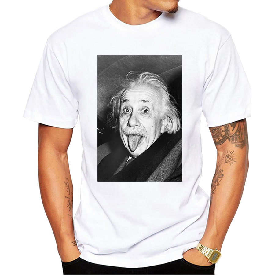 Albert Einstein Make Faces Design Men's   T     Shirt   Male Boy Hipster Tops Cool Short Sleeve Tees Funny   T  -  shirt   Harajuku Streetwear