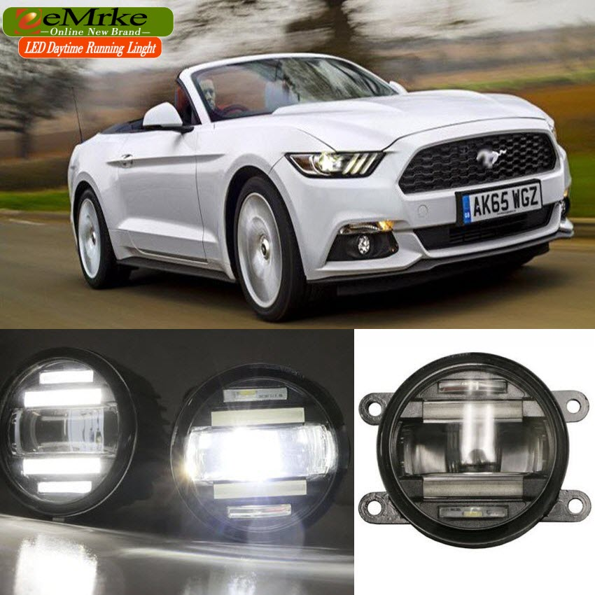 eeMrke Car Styling For Ford Mustang 2015 2016 2 in 1 LED Fog Light Lamp DRL With Lens Daytime Running Lights eemrke car styling for ford explorer 2013 2014 2015 2 in 1 led fog light lamp drl with lens daytime running lights