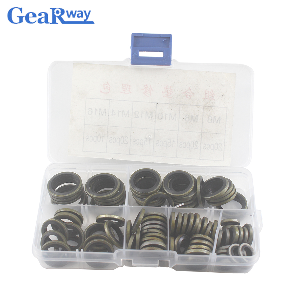 100pcs Bonded Washer Kit Gasket Metal Rubber Oil Resistance 6mm 16mm sizes Combined Washer Seal Ring