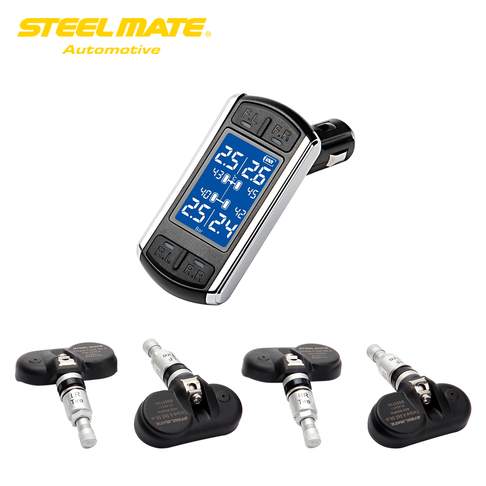 TP-08 TPMS DIY Tire Pressure Monitor System Wireless Transmission CIG Plug LCD Display with 4 Internal Sensors careud u903 wf tpms wireless tire pressure monitor with 4 external sensors