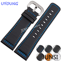 UYOUNG Watchband 28mm Mens Leather Watch band Quality Genuine Leather Strap Luxury Fine Steel Buckle