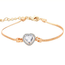 цена на Gold-Color Stellux Austrian Crystal Heart Charm Bracelet for Women Wedding Jewelry
