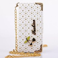 For IPhone 5C Case Bling Stars Skin Wallet Handbag Carry Strap Chain Flip Phone Leather Cover