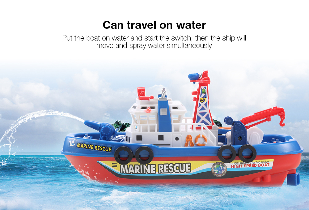 Electric Boat Children Marine Rescue Toys Boat Fire Boat Children Electric Toy (2)