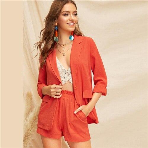 Frauen Kleidung & Zubehör Sheinside Casual Orange Single Button Kerb Kragen Blazer Frauen 2019 Frühling Doppel Tasche Blazer Damen Solide Trim Blazer