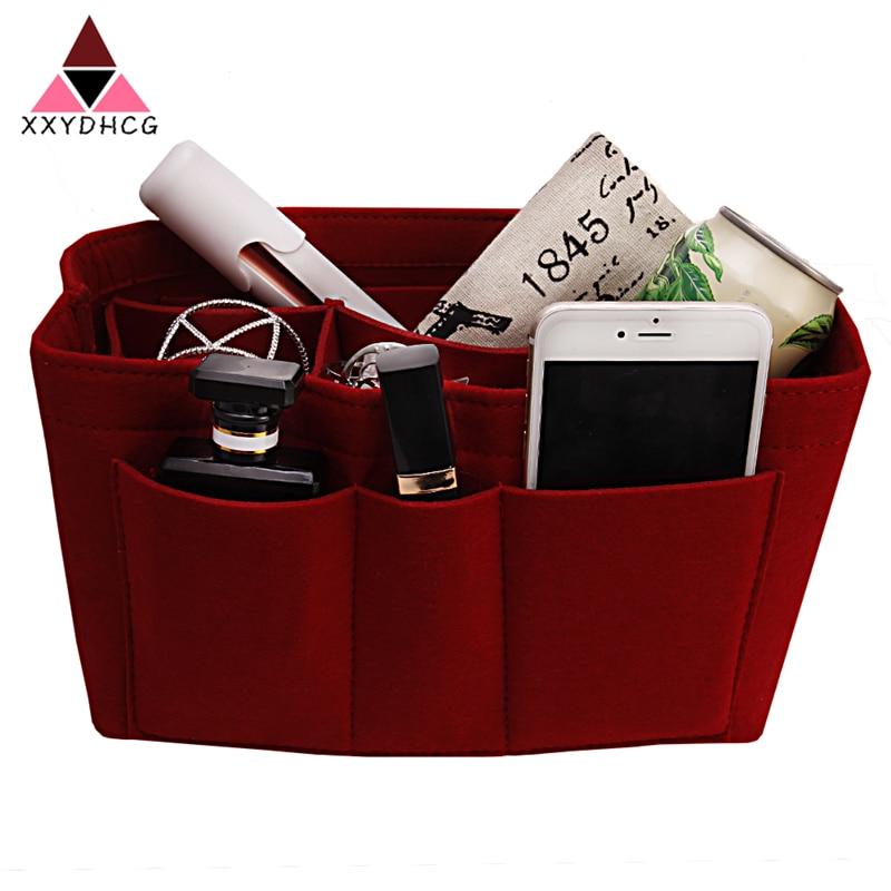Popular mujeres maquillaje organizador fieltro inserto multifuncional mujeres cosméticos bolsa de maquillaje para las señoras organizador de viajes