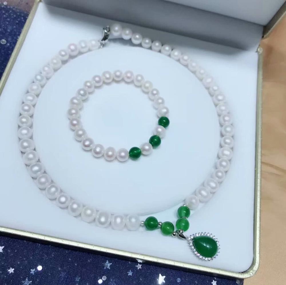 LANZYO natuarl perle ensembles de bijoux bijoux fins collier bracelet femmes tz00zhenzhu