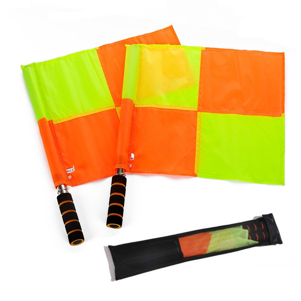 2 Pcs Professional Football Linesman Flags Soccer Red Side Line Referee Assistant Signal Lattice Flag Arbitro De Futbol Training