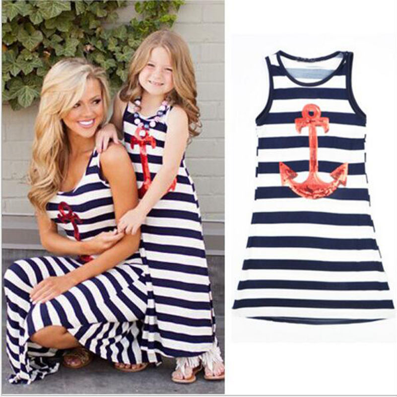 Navy Blue Kids Girls Red Sequins Anchor Maxi Stripes Dress Summer Boho Sundress Women Sailor Dress Family Matching Outfits