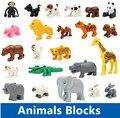 Покемон Большой Строительные Блоки Животных Овцы Кролик Собака Лошадь Свинья Кошка Петух Жираф Panda Совместимость Duploe Детские Развивающие Игрушки